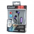 AWEI TE800i In-ear Earphones w/ Microphone for Samsung - Black + Purple (120cm-Cable / 3.5mm Plug)