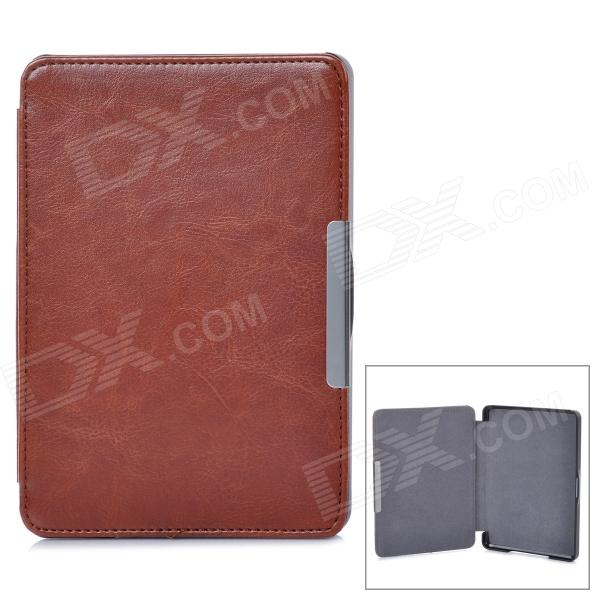 Protective PU Leather Case for KOBO GLO E-Book - Brown ultra slim pu leather cover case with magnet closure for kobo glo 6 ereader