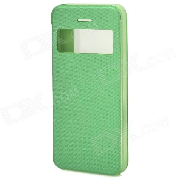 Ultrathin Protective Plastic Case w/ Display Window for Iphone 5S - Green waterproof protective plastic full body case for iphone black green
