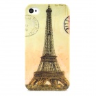 Eiffel Tower Style Protective Plastic Back Case for Iphone 4 / 4S - Black + Light Green