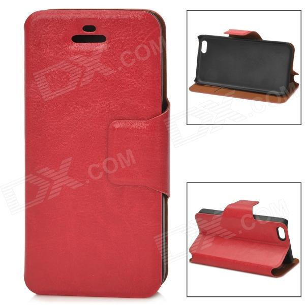 Protective PU Leather Case w/ Card Holder Slot for Iphone 5S - Red