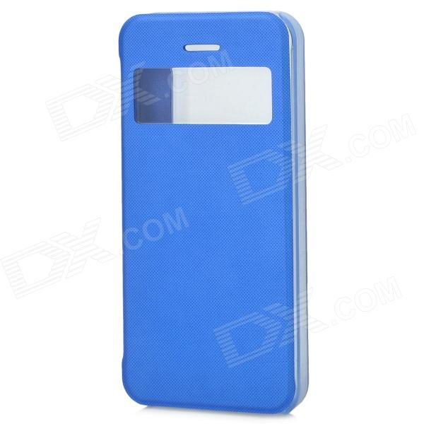 Ultrathin Protective Plastic Case w/ Display Window for Iphone 5S - Blue stylish protective case w display window for iphone 5c blue