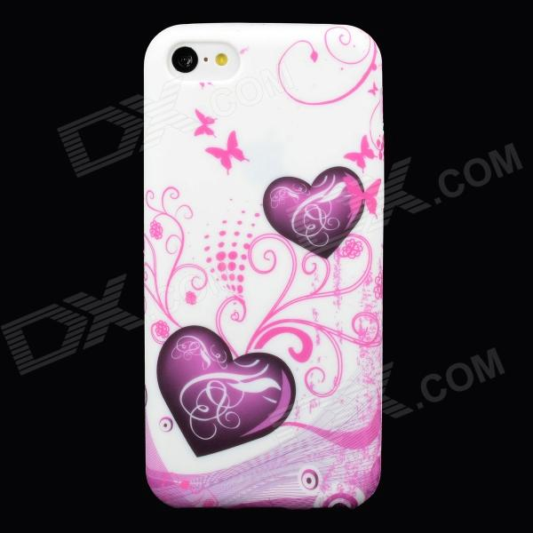 Love Heart Style Protective Silicone Back Case for Iphone 5C - Pink + White ipega i5056 waterproof protective case for iphone 5 5s 5c pink