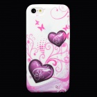 Love Heart Style Protective Silicone Back Case for Iphone 5C - Pink + White
