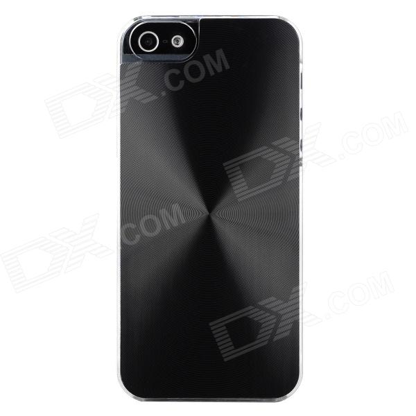Stylish CD Grain Style Protective Aluminum Alloy + PC Back Case for Iphone 5S - Black + Transparent