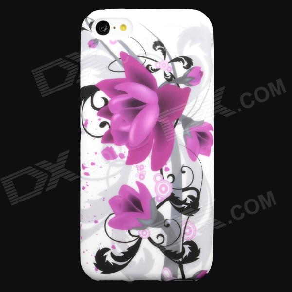 Flower Style Protective Silicone Back Case for Iphone 5C - Purple + White + Black
