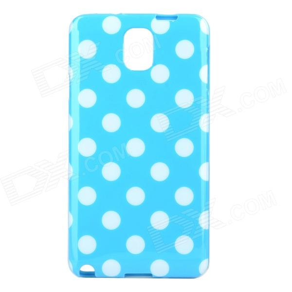Polka Dot Style Protective TPU Back Case for Samsung Galaxy Note 3 N9000 - Blue + White protective silicone back case w stand for samsung galaxy note 3 translucent grey white