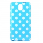 Polka Dot Style Protective TPU Back Case for Samsung Galaxy Note 3 N9000 - Blue + White