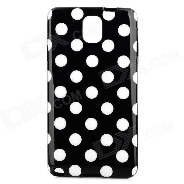 Protective Polka Dot TPU Back Case for Samsung Note 3 / N9000 - Black + White enkay protective tpu back case w holder stand for samsung galaxy note 3 n9000 pink