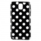 Protective Polka Dot TPU Back Case for Samsung Note 3 / N9000 - Black + White