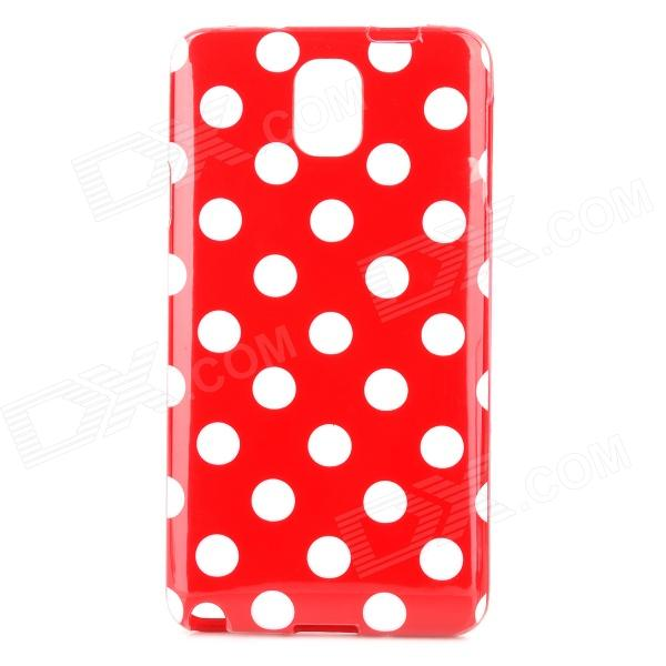 Polka Dot Style Protective TPU Back Case for Samsung Galaxy Note 3 N9000 - Red + White protective silicone back case w stand for samsung galaxy note 3 translucent grey white
