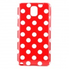 Polka Dot Style Protective TPU Back Case for Samsung Galaxy Note 3 N9000 - Red + White