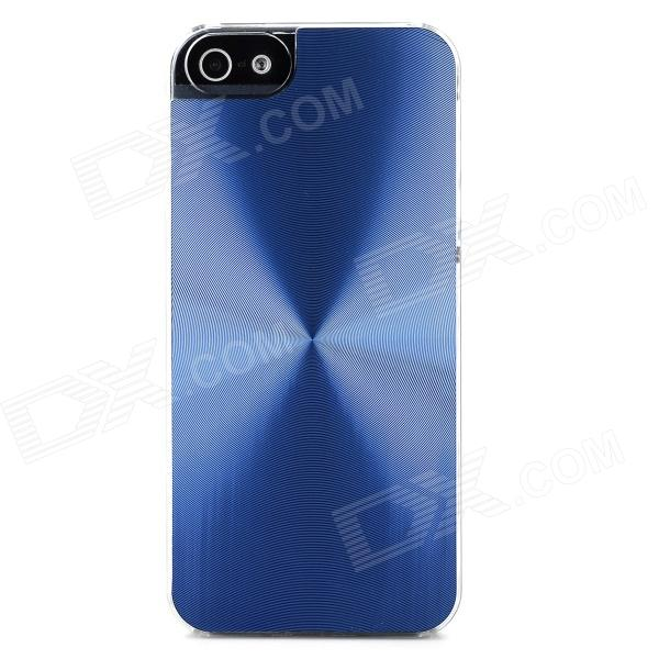 Stylish CD Grain Style Protective Aluminum Alloy + PC Back Case for Iphone 5S - Blue + Transparent