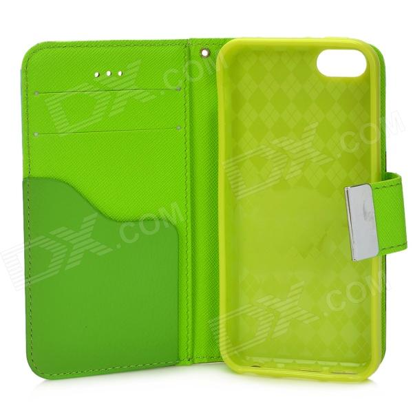 Iphone 5c Green With White Case Protective PU Leather ...