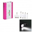 ZEALOT Z6 Dual USB 10400mAh Power Bank w/ 1-LED Flashlight for iPhone / Nokia - Deep Pink + White