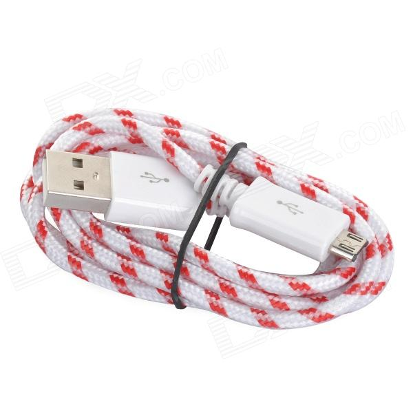 USB 2.0 Female to Micro 5pin Male Nylon Data Cable for Samsung / HTC / LG - Red + White (100cm)