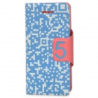 Unique Protective PU Leather Case for iPhone 5 - Blue + White
