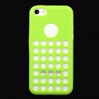 Hollow-Out Round Hole Style Protective Silicone Back Case for iPhone 5c - Green