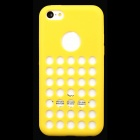 Round Hole Protective Silicone Back Case for iPhone 5c - Yellow