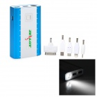 ZEALOT Z6 Dual USB 10400mAh Power Bank w/ 1-LED Flashligh for iPhone / Nokia - Blue + White
