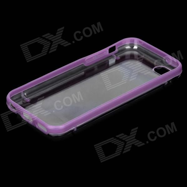 Protective Plastic Back Case w/ Glow-in-the-Dark Frame for Iphone 5C - Purple + Transparent stylish glow in the dark protective pc pu bumper frame case for iphone 5c orange