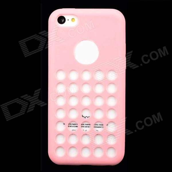 Round Hole Protective Silicone Back Case for iPhone 5c - Pink