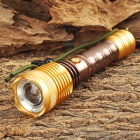 T901-07 Cree XM-L T6 700lm 5-Mode White Zooming Flashlight w/ Compass - Golden + Coffee (1 x 18650)