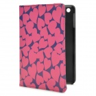 Love Heart Style Protective PU Leather Case for Ipad MINI - Purple + Deep Pink