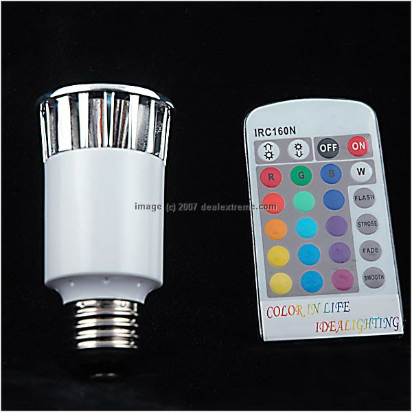 Remote Controlled Dimmable 5W High Powered 1-LED Multicolor LED Light Bulb 90V - 250V & Remote Controlled Dimmable 5W High Powered 1-LED Multicolor LED ...