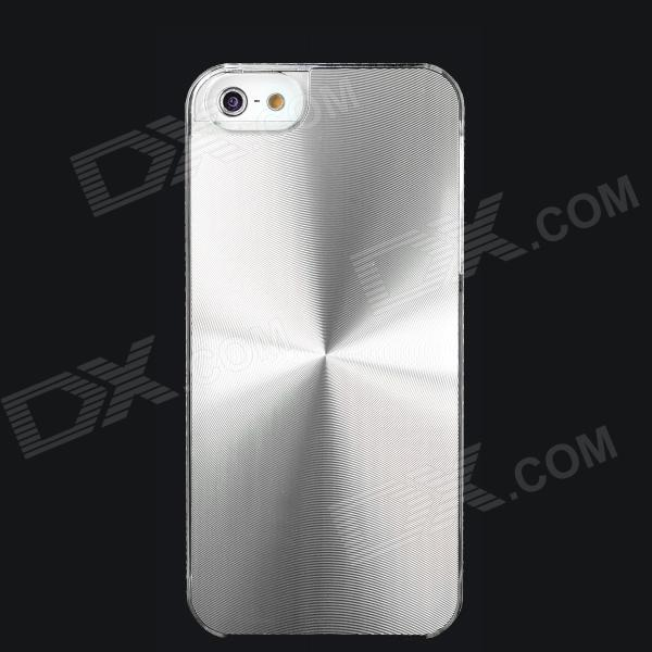 Stylish CD Grain Style Protective Aluminum Alloy + PC Back Case for Iphone 5S - Silver + Transparent