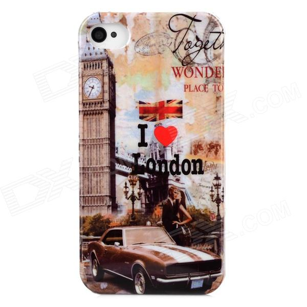 Big Ben Pattern Plastic Back Case for Iphone 4 / 4S - Multicolored