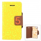 PU Leather Flip-Open Stand Case for Iphone 5 - Yellow + Green