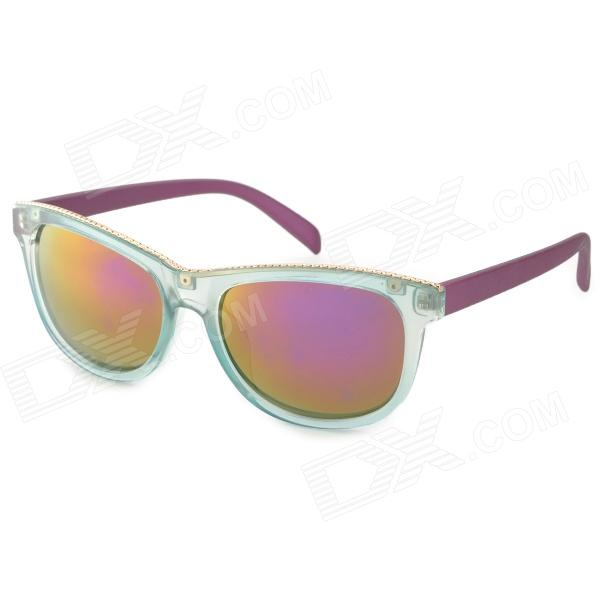 OREKA DY788 Fashion Women's Purple REVO Lens UV400 Protection Sunglasses - Purple + Translucent Blue