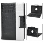 360 Degree Protective PU Case w/ Bluetooth V3.0 Keyboard for Samsung Tab3 P3200 - Black + White