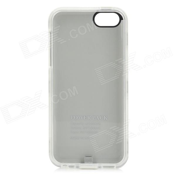 External 2800mAh Power Battery Charger Back Case for iPhone 5c - White + Black