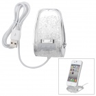 Crystal Decorated Plastic 30pin Charging Dock for iPhone 4 / 4S - Transparent + Silvery White