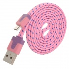 Micro USB Male to USB Male Data Charging Nylon Cable for Samsung / HTC - Pink + Blue (100cm)
