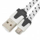 USB Male to Micro USB Nylon Data Charging Cable - White + Black (100 CM)