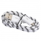 USB to Micro USB Data / Charging Nylon Cable for Samsung / HTC / LG + More - White + Black (100cm)