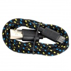 USB 2.0 Female to Micro 5pin Male Nylon Data Cable for HTC / LG etc - Black + Yellow + Blue (100cm)