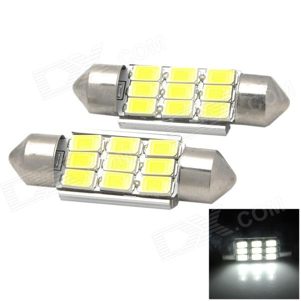 Festoon 36mm 4.5W 180lm 7000K 9-5730 SMD LED White Light Car Reading Lamps - Silver + Yellow (2 PCS)
