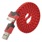 Nylon USB Male to Apple 30 Pin Male Data Sync & Charging Flat Cable for iPhone 4 /4S - Red (100cm)