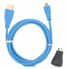 Micro hDMI Male to HDMI Male Extension Cable w/ Adapter - Blue (180 CM)