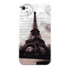 Eiffel Tower Style Protective Plastic Back Case for Iphone 4 / 4S - Brown + White