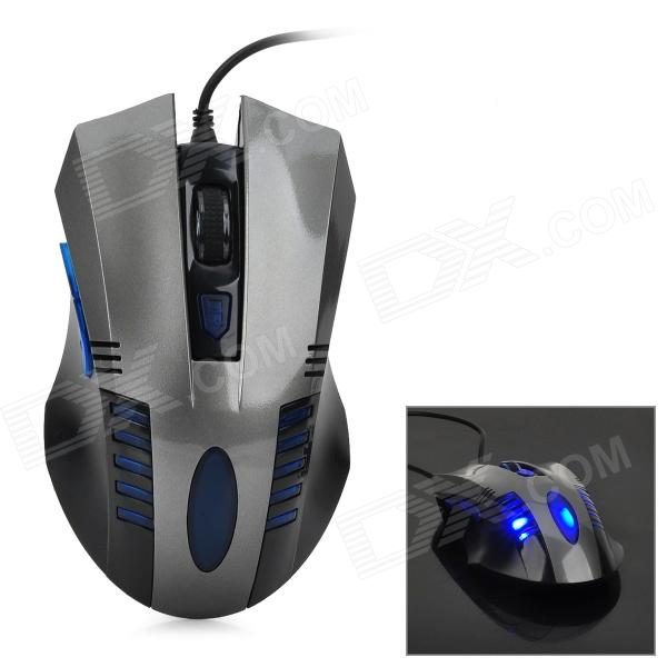 VMO-106 800 / 1200 / 1600 / 2400 DPI USB Wired Optical Game Mouse- Black + Grey + Blue zuntuo zt 302 heise 2 4ghz 800 1200 1600 2000dpi wireless optical mouse black blue