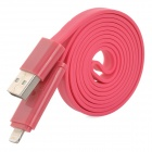 2-in-1 USB Male to 8-Pin Lightning + Micro USB Data / Charging Flat Cable - Deep Pink (108cm)