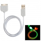 USB 30-Pin-Daten-/ Ladekabel w / Green + Red LED blinkt - Weiß (100cm)