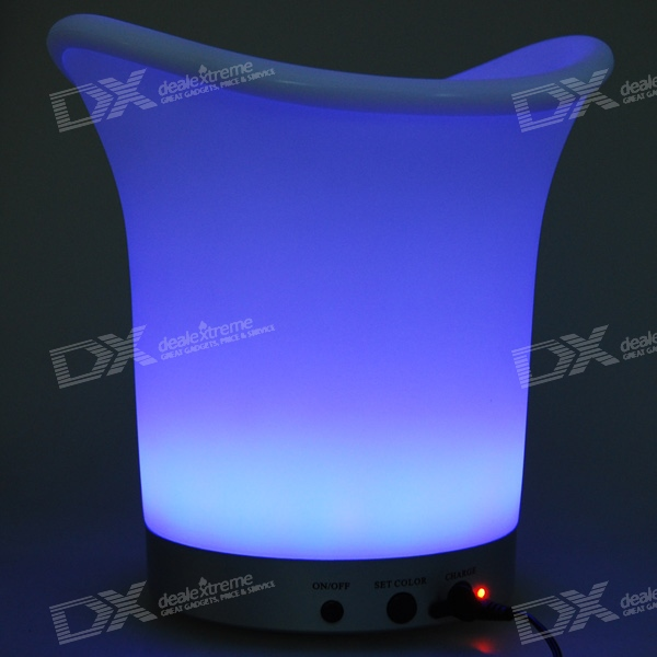 LED Light Color Changing Ice Bucket with Remote Control (Rechargeable)