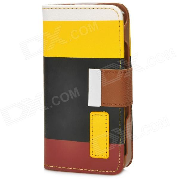 все цены на Protective PU Leather Case w/ Hand Strap for Iphone 4 / 4S - White + Yellow + Black + Brown