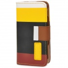Protective PU Leather Case w/ Hand Strap for Iphone 4 / 4S - White + Yellow + Black + Brown